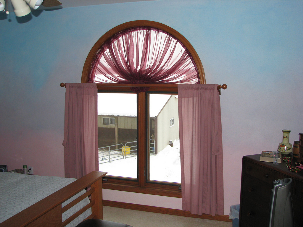 Image of: Curved Window Curtain Rod Pink