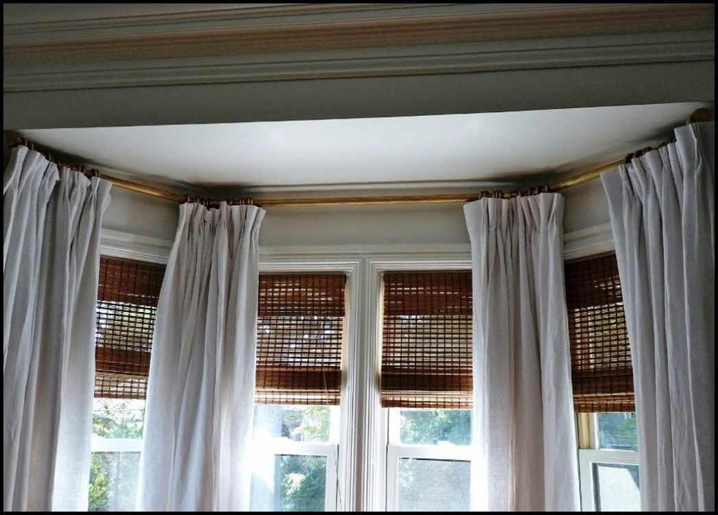 Image of: Curved Window Curtain Rod Simple