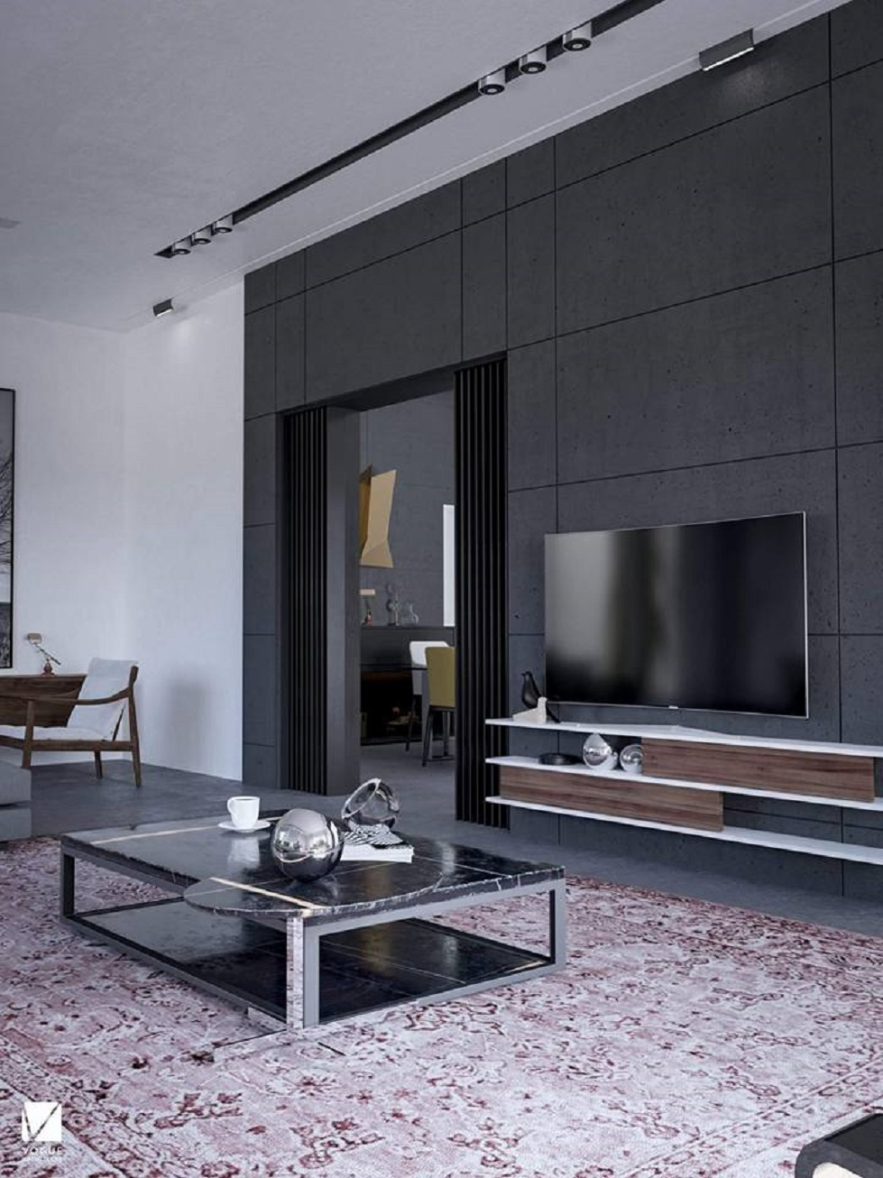 Image of: Dark Gray Concrete Wall Panels