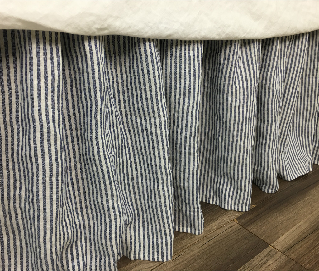 Image of: Denim and White Striped Bed Skirt
