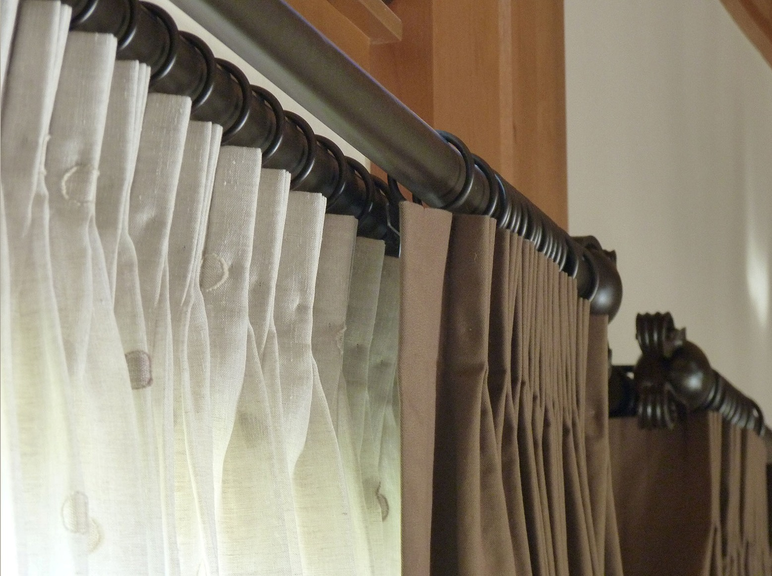 Image of: Double Traverse Curtain Rod Brown