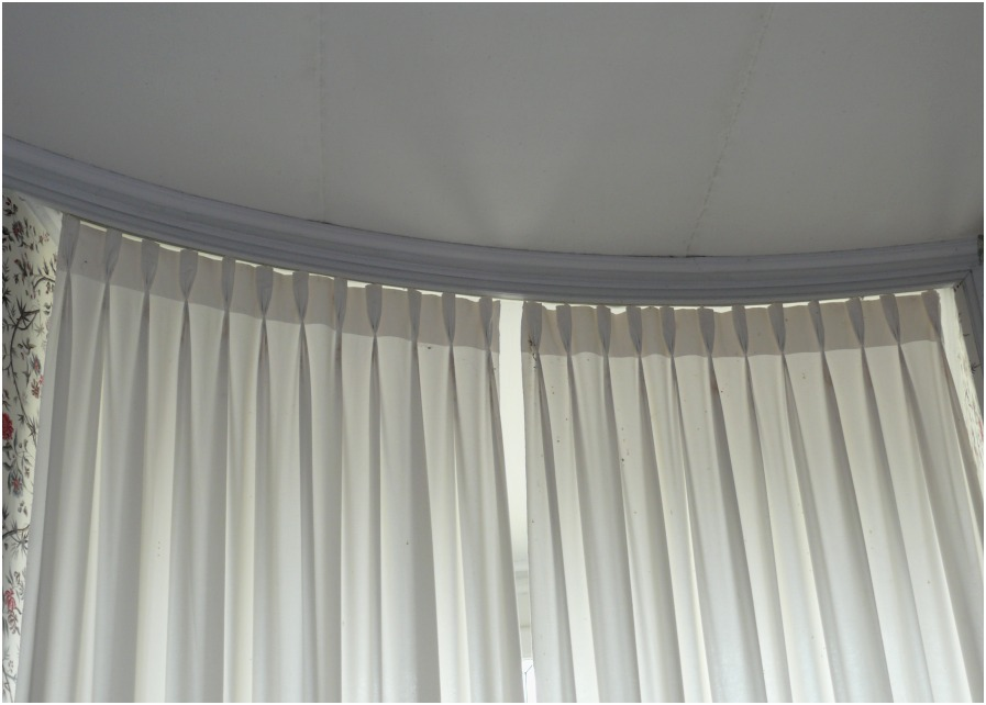 Image of: Double Traverse Curtain Rod White