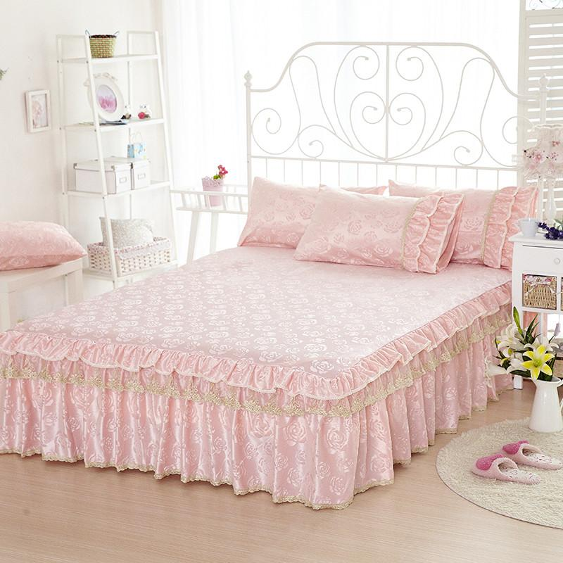 Image of: Fitted Bed Skirt Pink