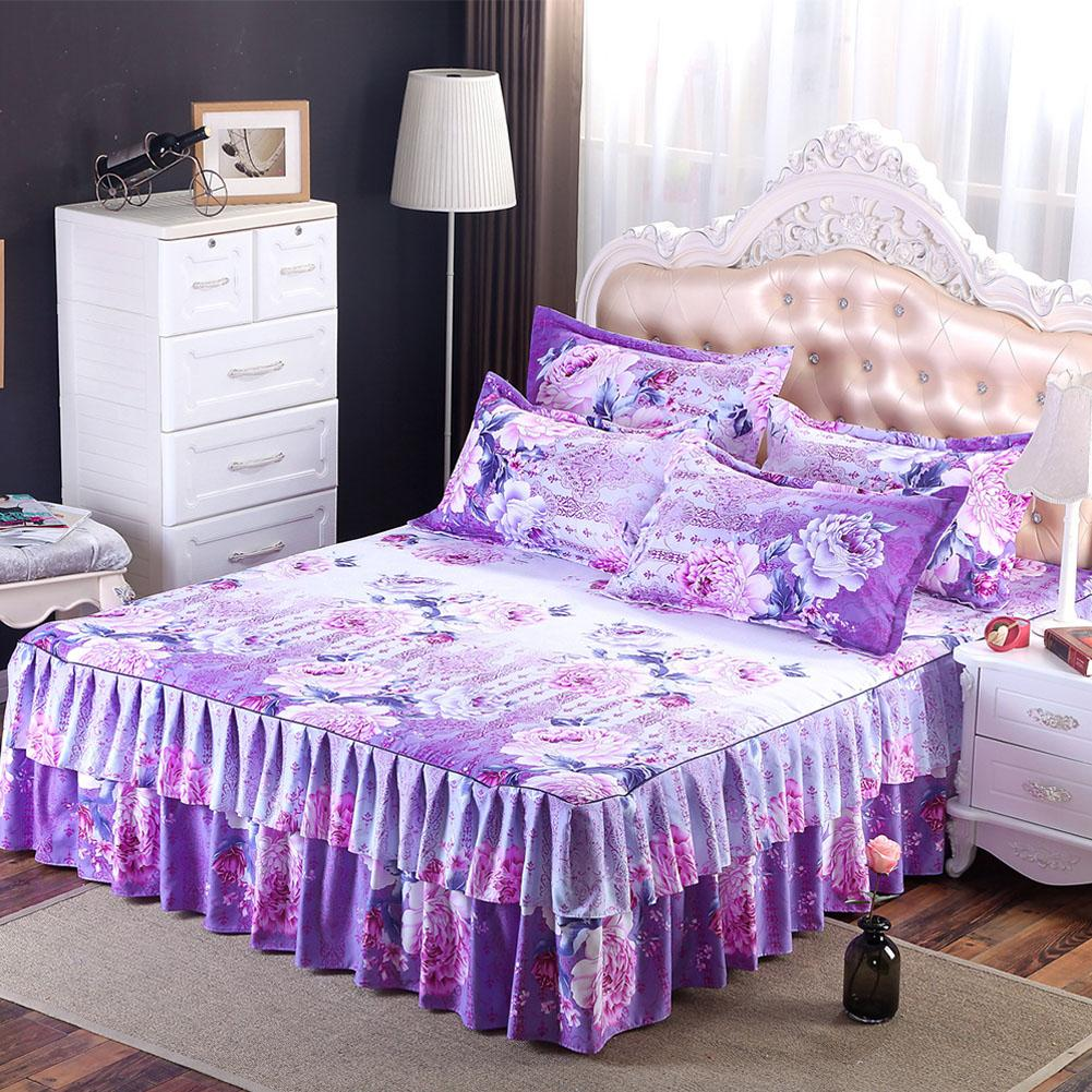 Image of: Fitted Bed Skirt Purple