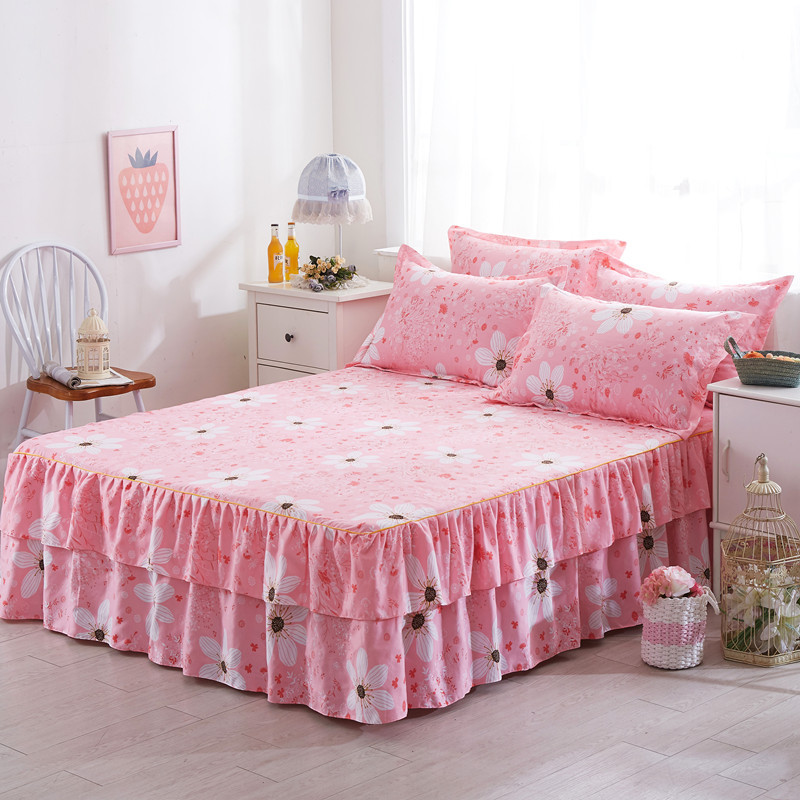 Image of: Fitted Bed Skirt in Pink