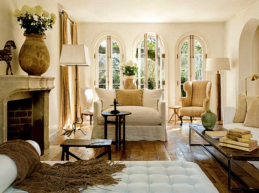 Image of: French Country Living Room Ideas Wooden
