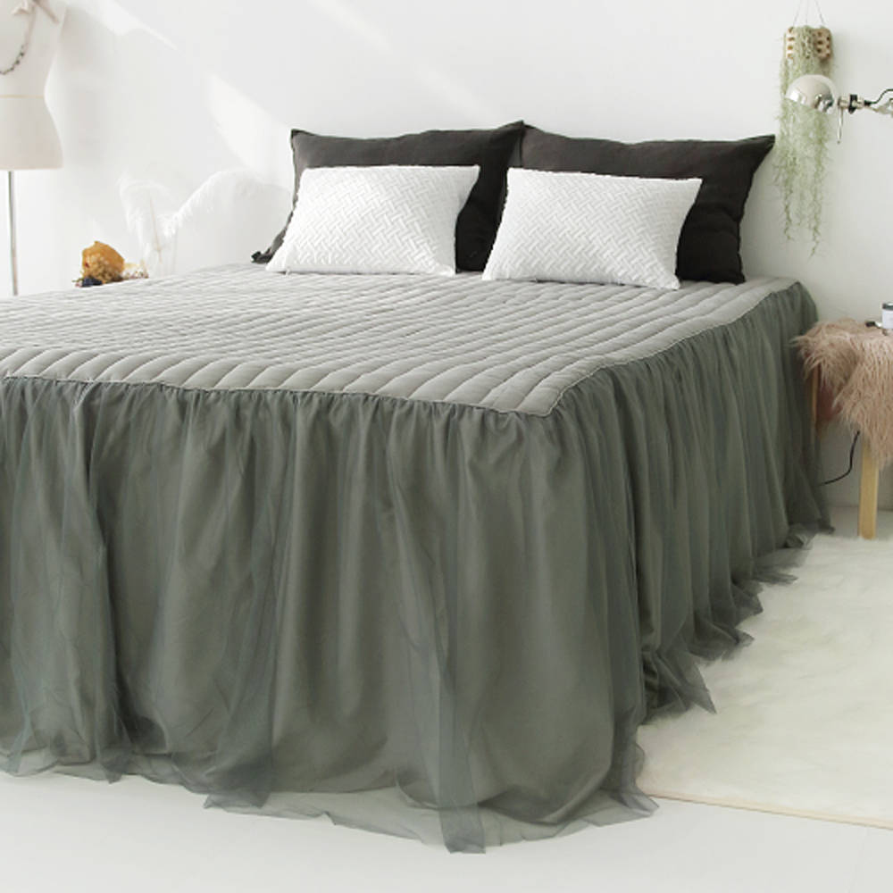 Image of: Gray Bed Skirt Lace