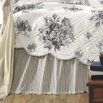 Gray Striped Bed Skirts For Twin Bed