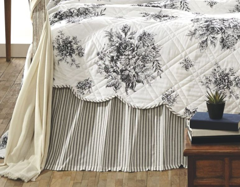 Image of: Gray Striped Bed Skirts For Twin Bed