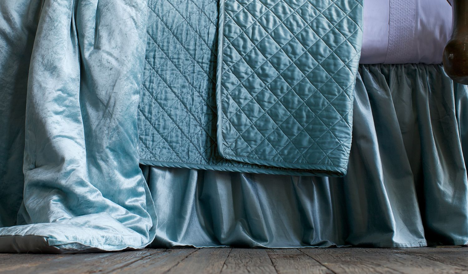 Image of: Green Bed Skirt Silk