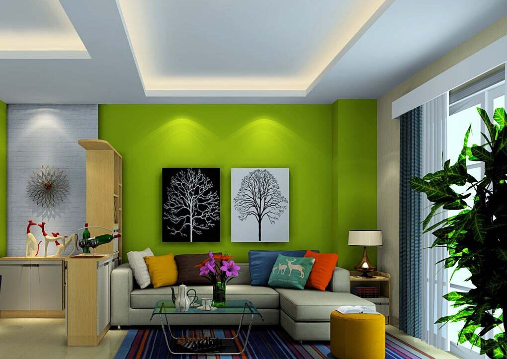 Image of: Green Living Room Walls Glass