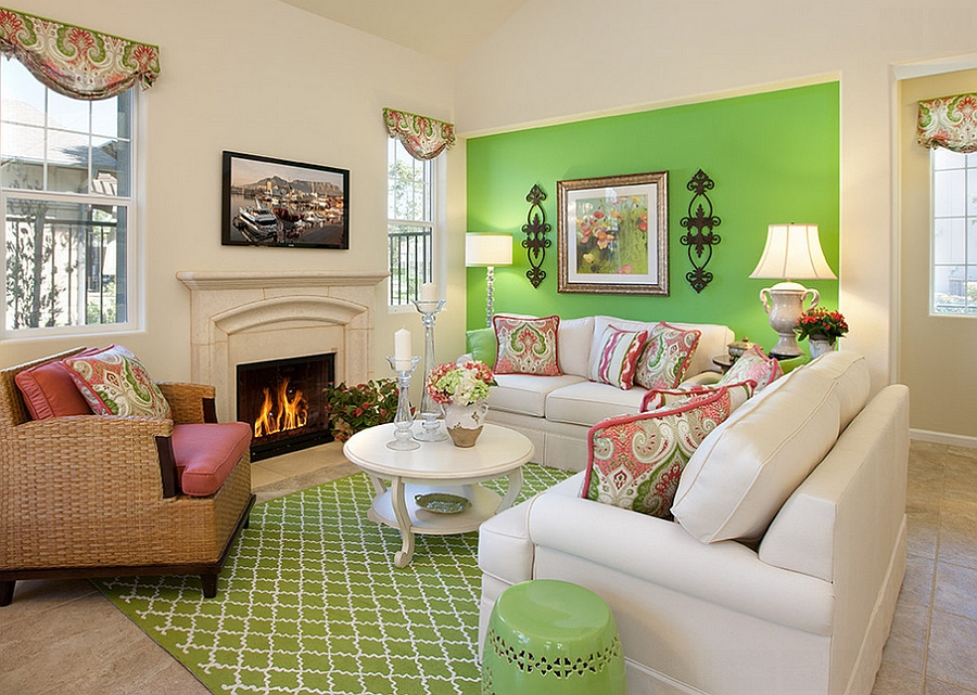 Green Living Room Walls Interior