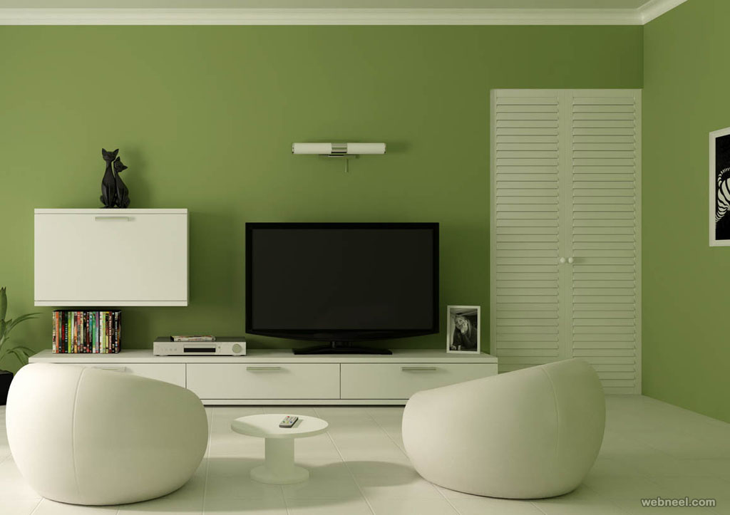 Image of: Green Living Room Walls Modern