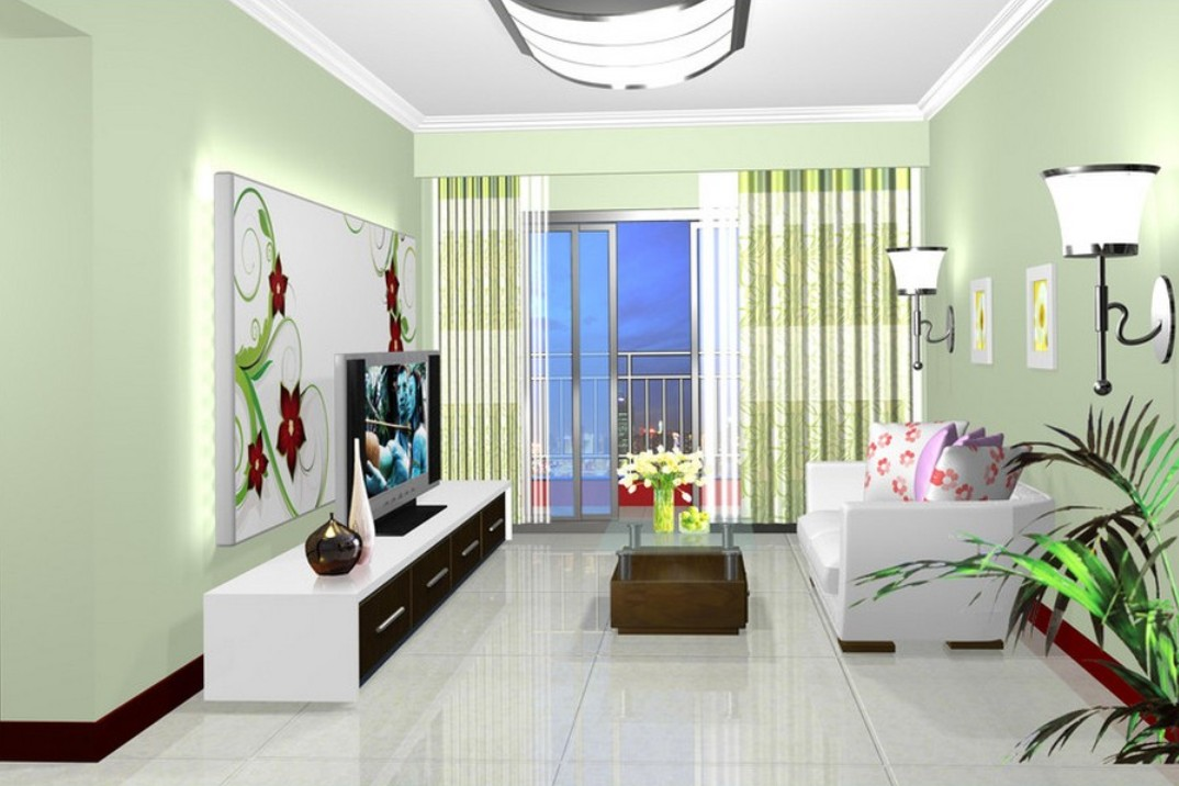 Image of: Green Living Room Walls Small