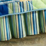 Green Striped Christmas Bed Skirt