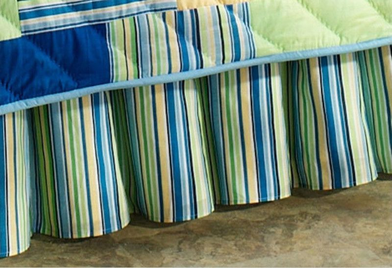 Image of: Green Striped Christmas Bed Skirt