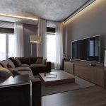Grey and Brown Living Room Cabinet