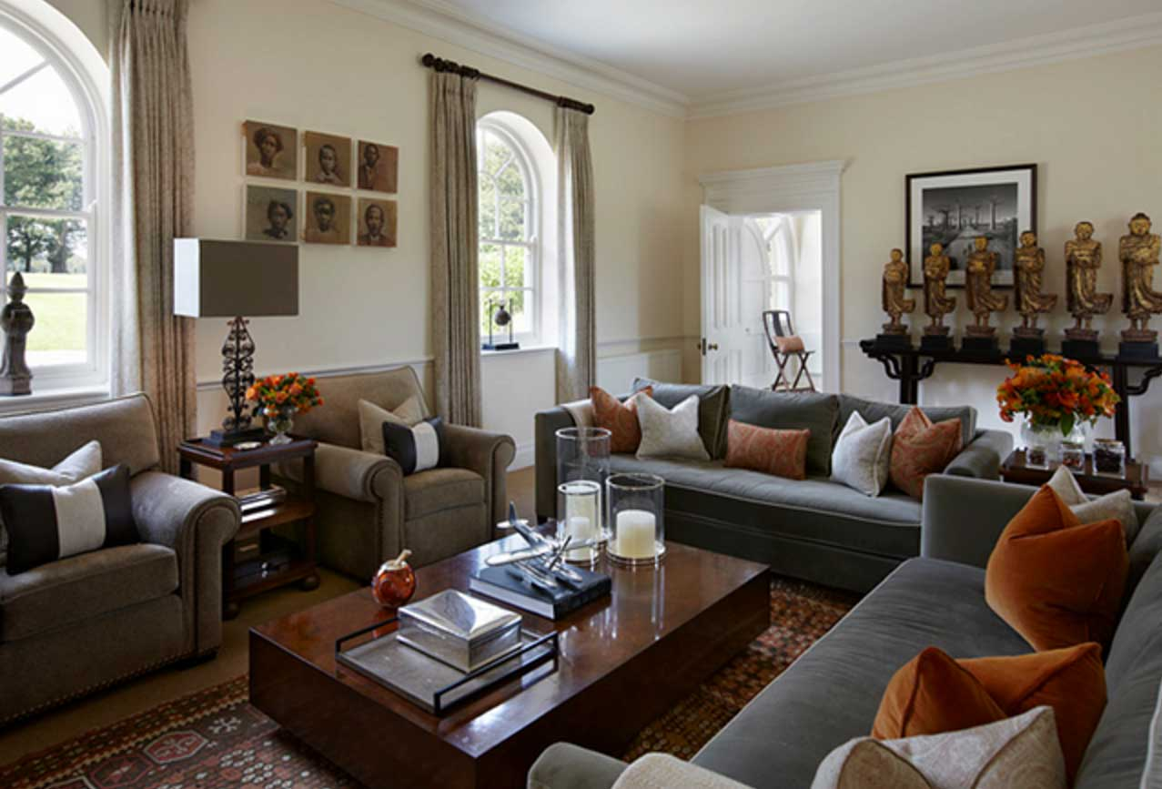 Image of: Grey and Brown Living Room Combined