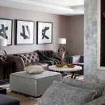 Grey and Brown Living Room Interior
