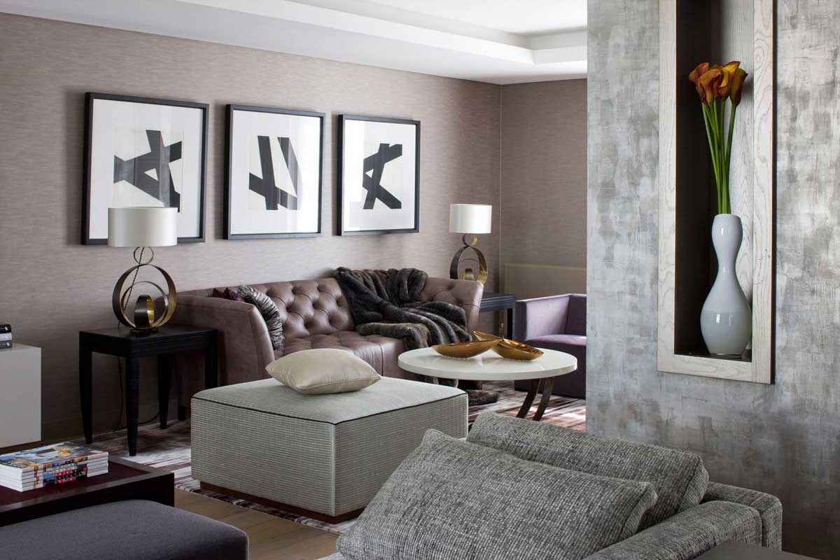 Image of: Grey and Brown Living Room Interior