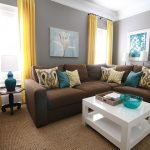 Grey and Brown Living Room Yellow