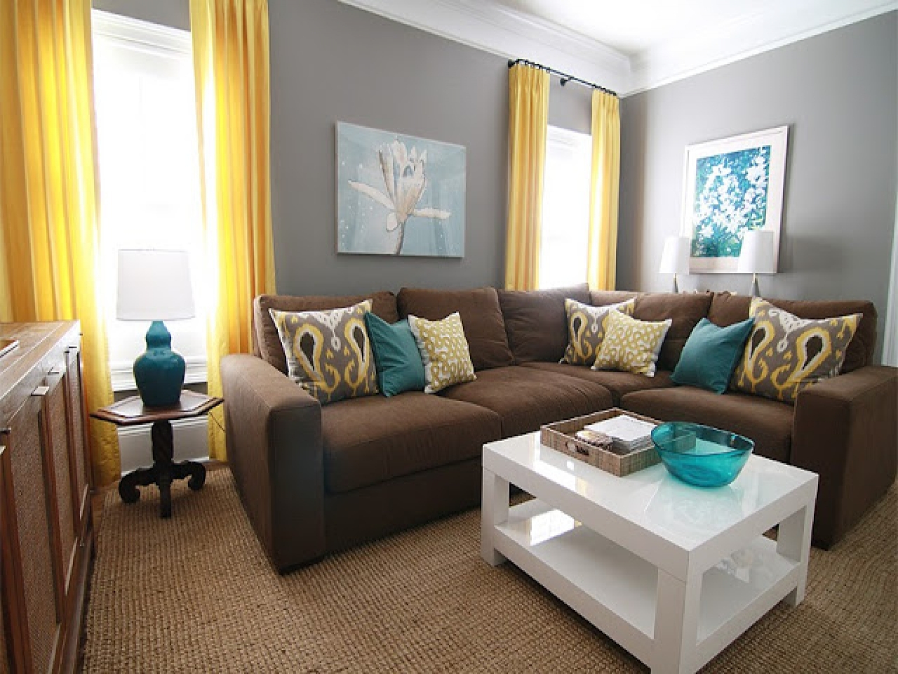 Image of: Grey and Brown Living Room Yellow