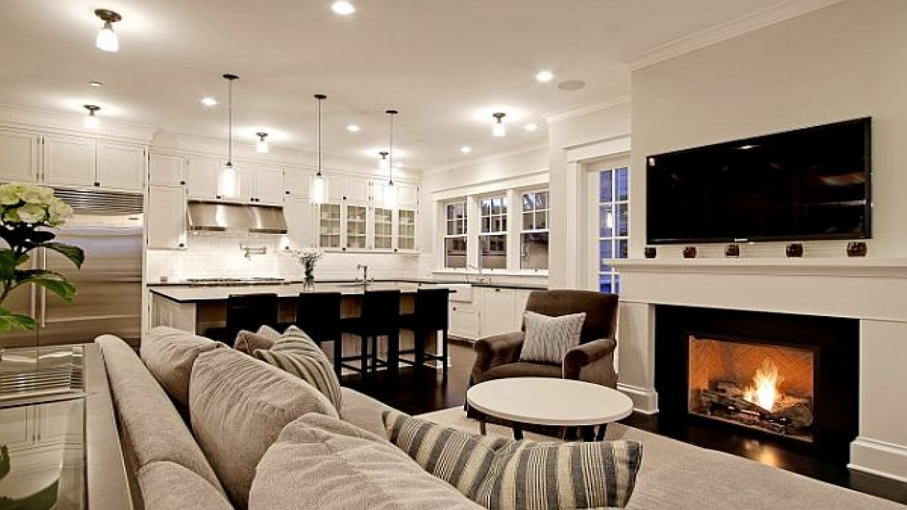 Image of: Kitchen Living Room Combo Fire