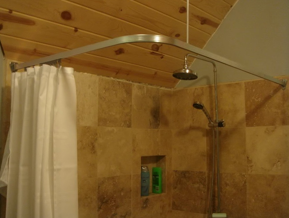 Image of: L Shaped Shower Curtain Rod Nickel