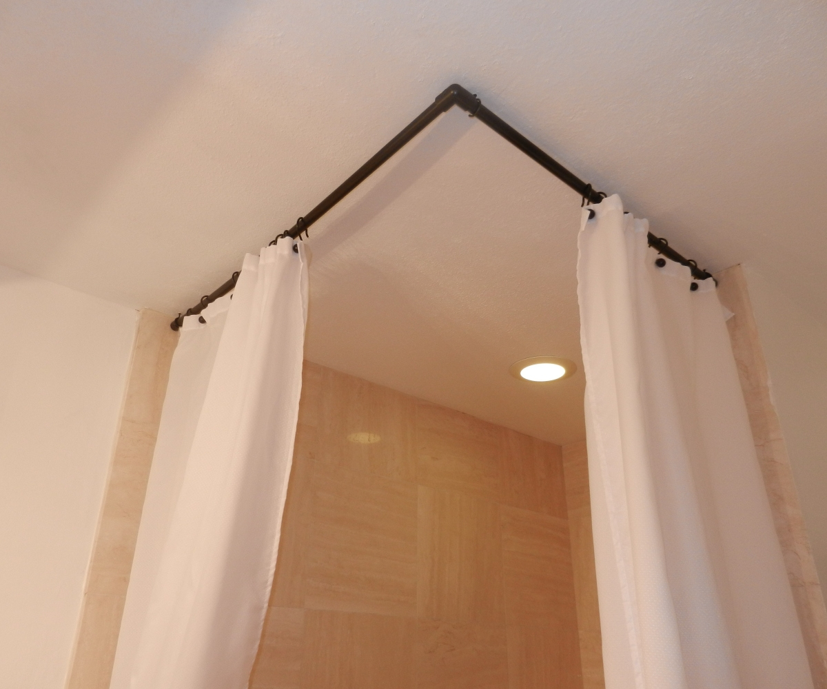Image of: L Shaped Shower Curtain Rod Simple