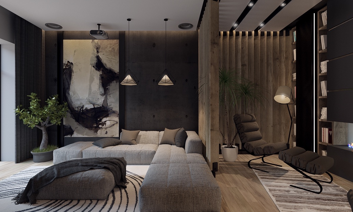 Image of: Large Wall Art for Living Room Black