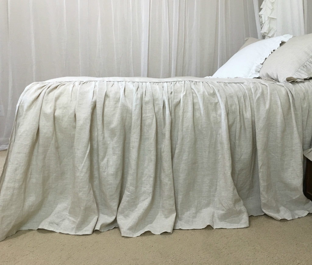 Image of: Linen White Ruffle Bed Skirt