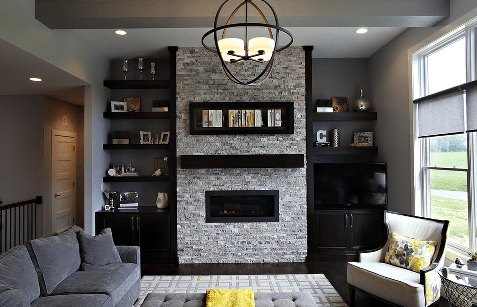 Image of: Living Room Built Ins Black