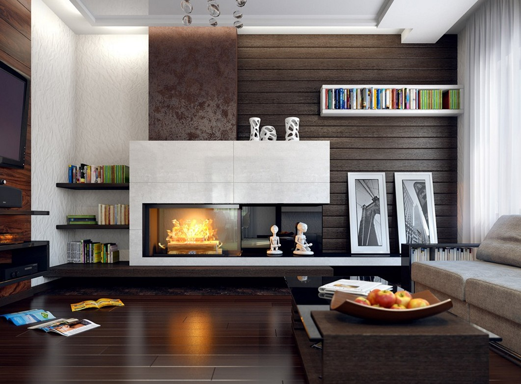 Image of: Living Room Fireplace Modern