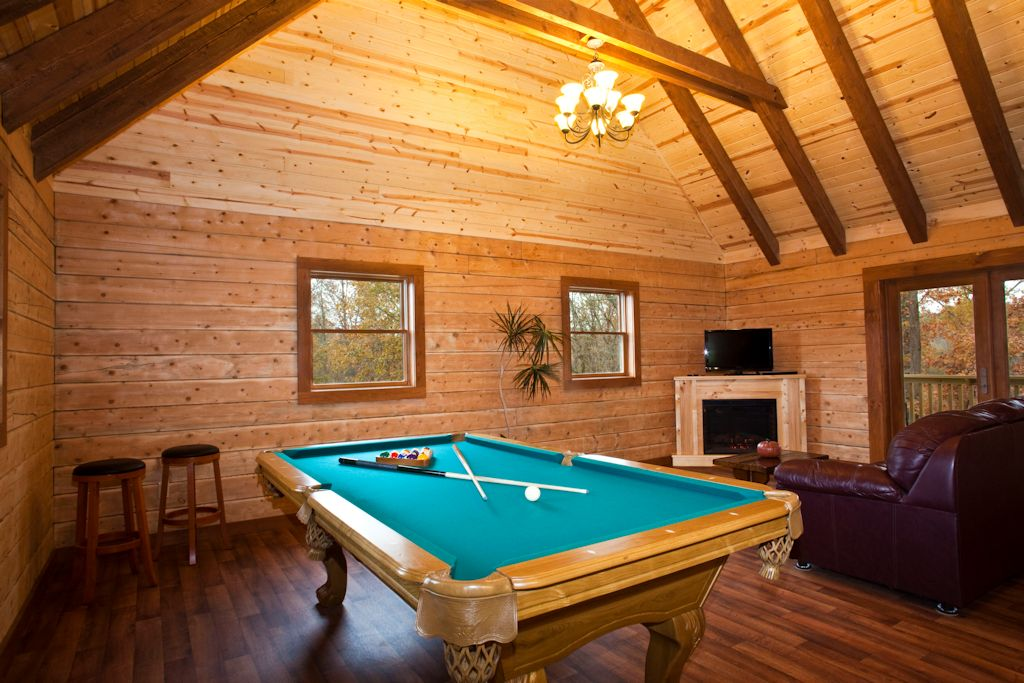 Log Cabin Living Room Billiard