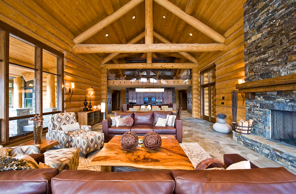 Image of: Log Cabin Living Room Decor