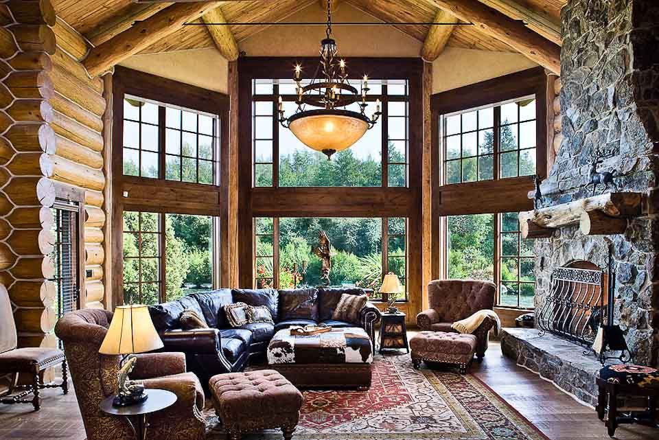 Image of: Log Cabin Living Room Elegant
