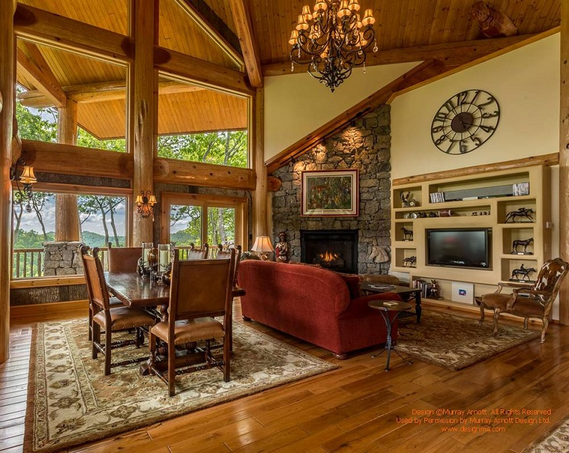 Image of: Log Cabin Living Room Interior