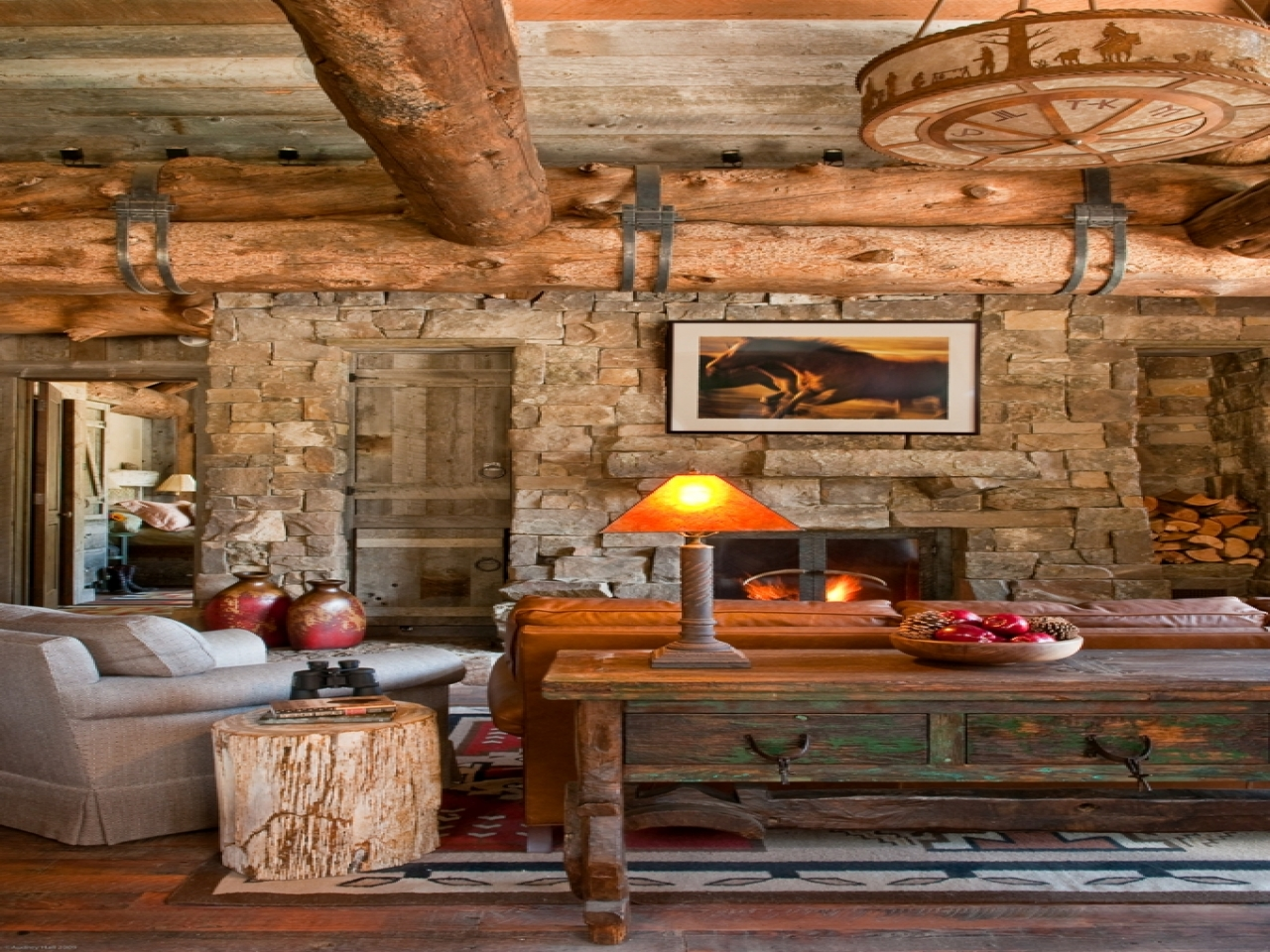 Image of: Log Cabin Living Room Rustic