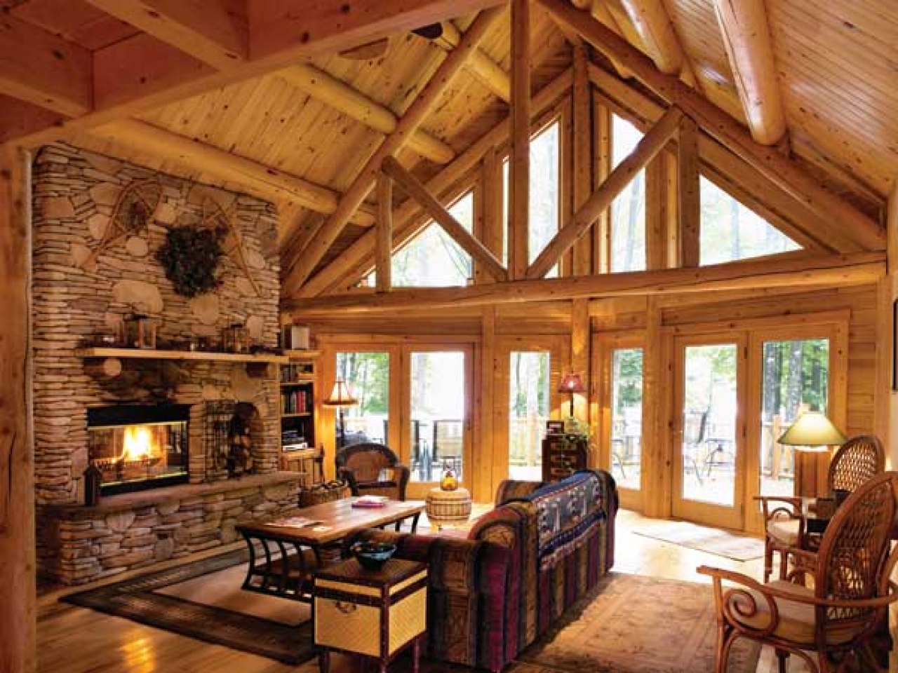 Image of: Log Cabin Living Room Small