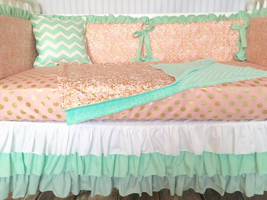 Image of: Mint Gold Bed Skirt