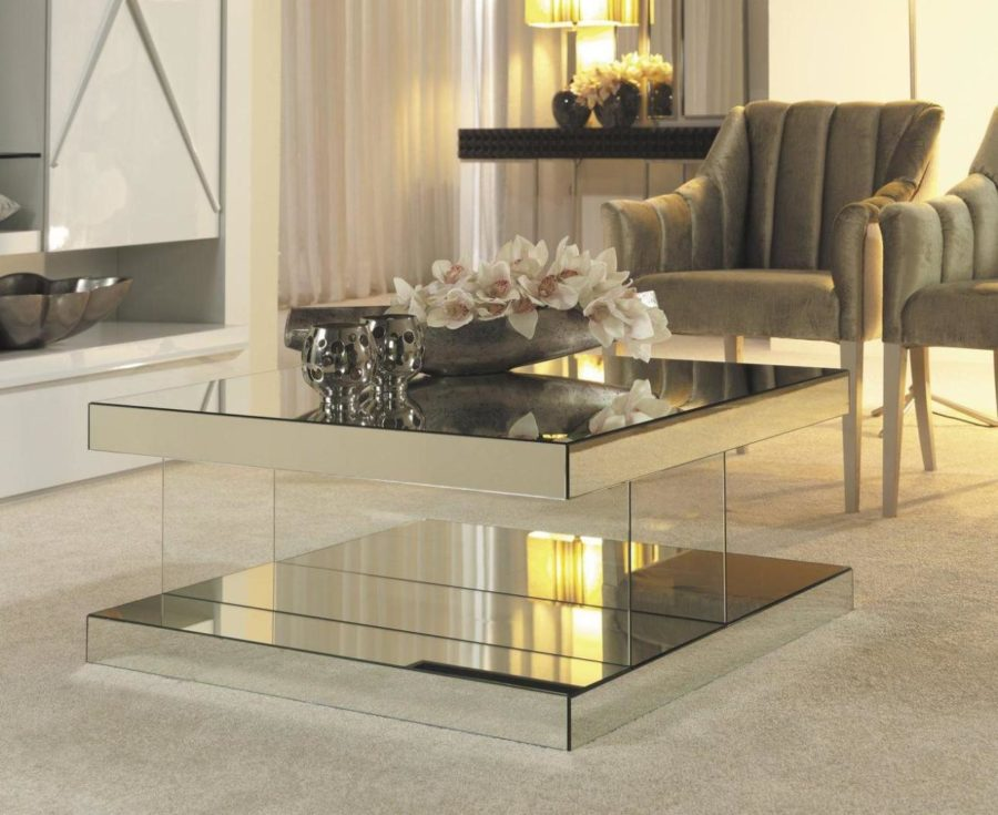 Image of: Mirror Tables for Living Room Simple