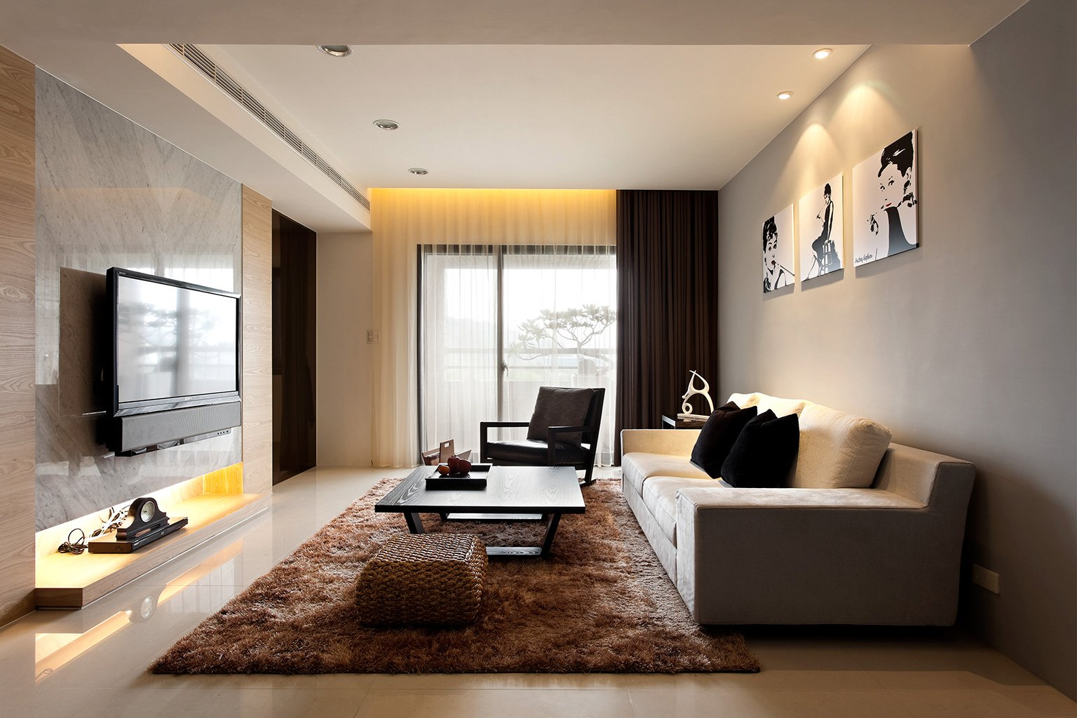 Image of: Modern Living Room Curtains Decor