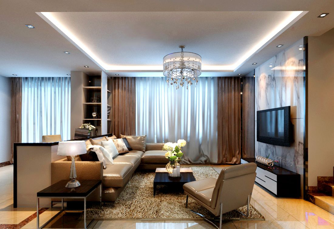 Image of: Modern Living Room Curtains Style