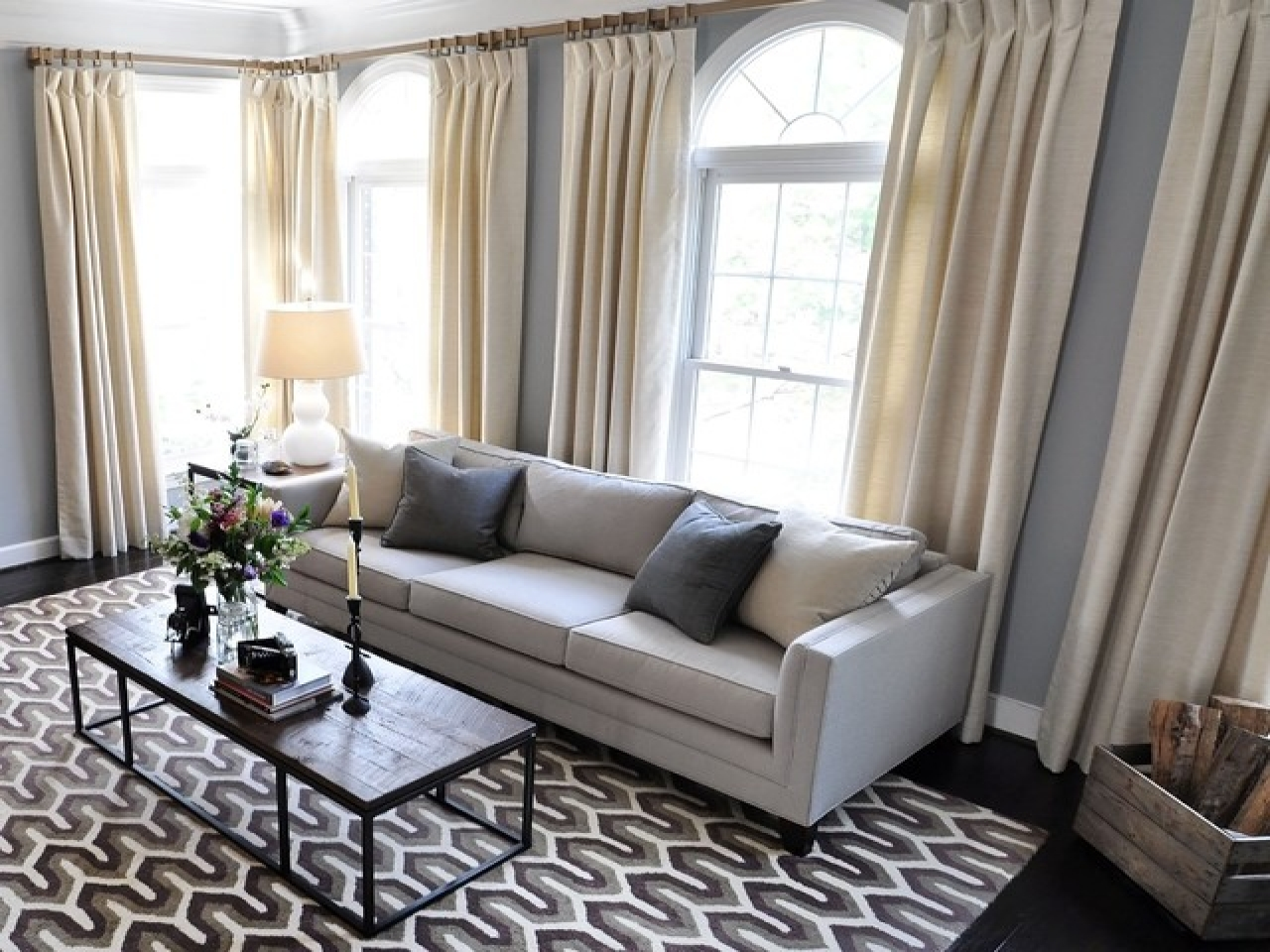 Image of: Modern Living Room Curtains Unique