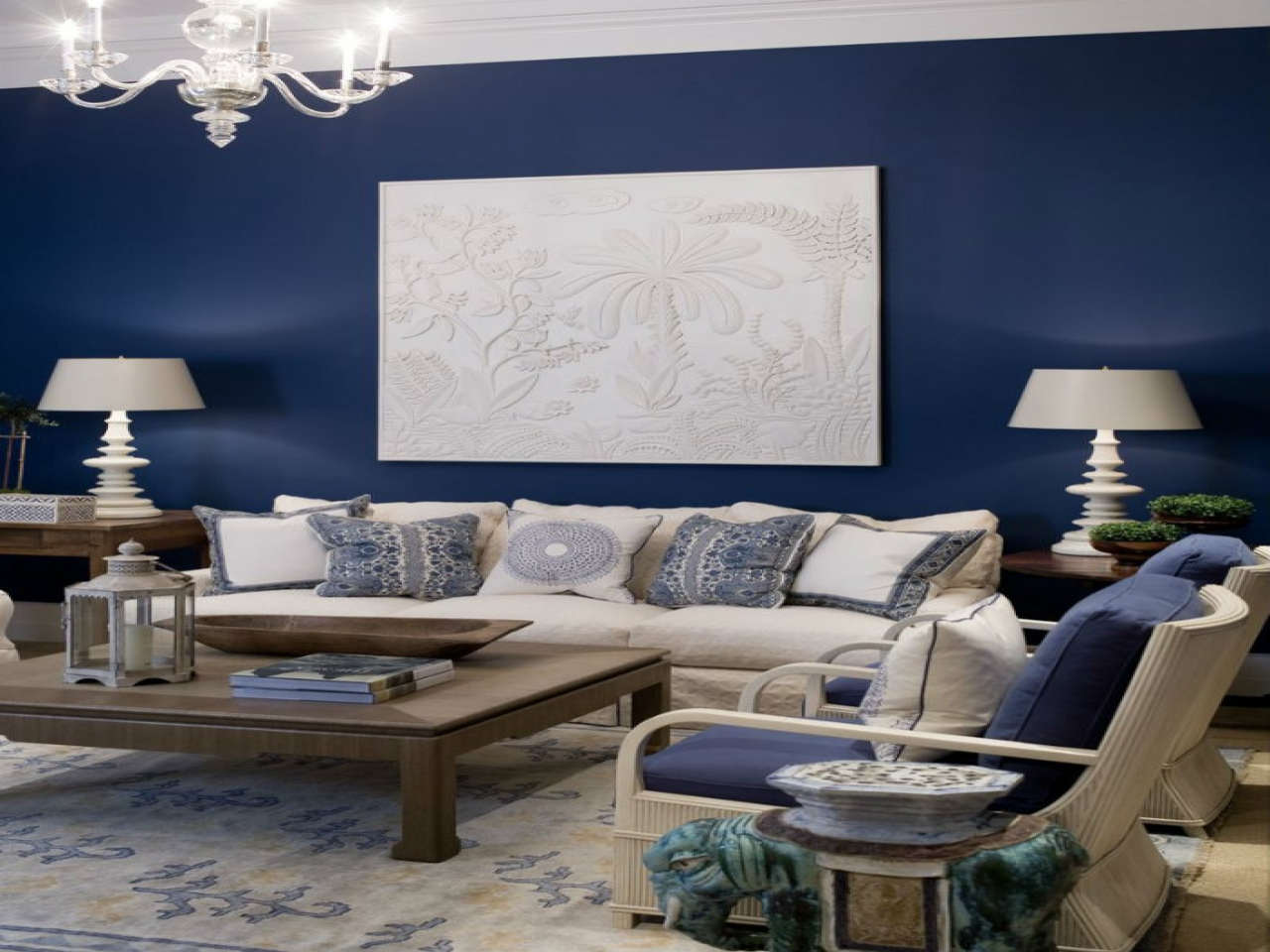 Image of: Navy Living Room Decorating
