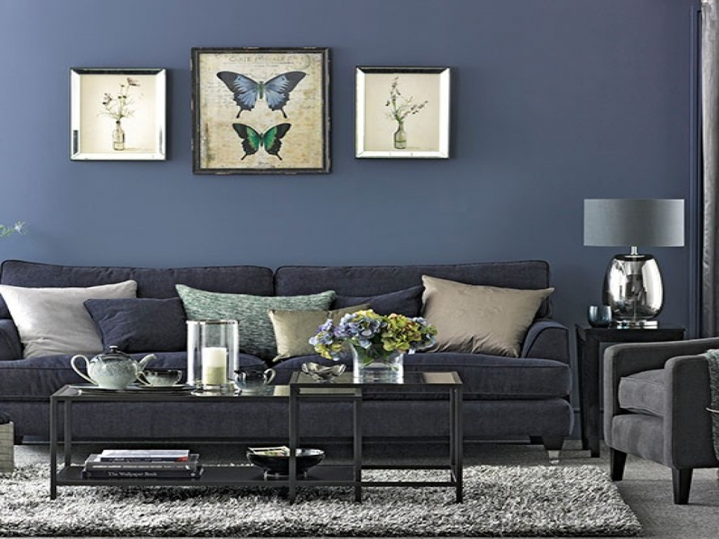 Image of: Navy Living Room