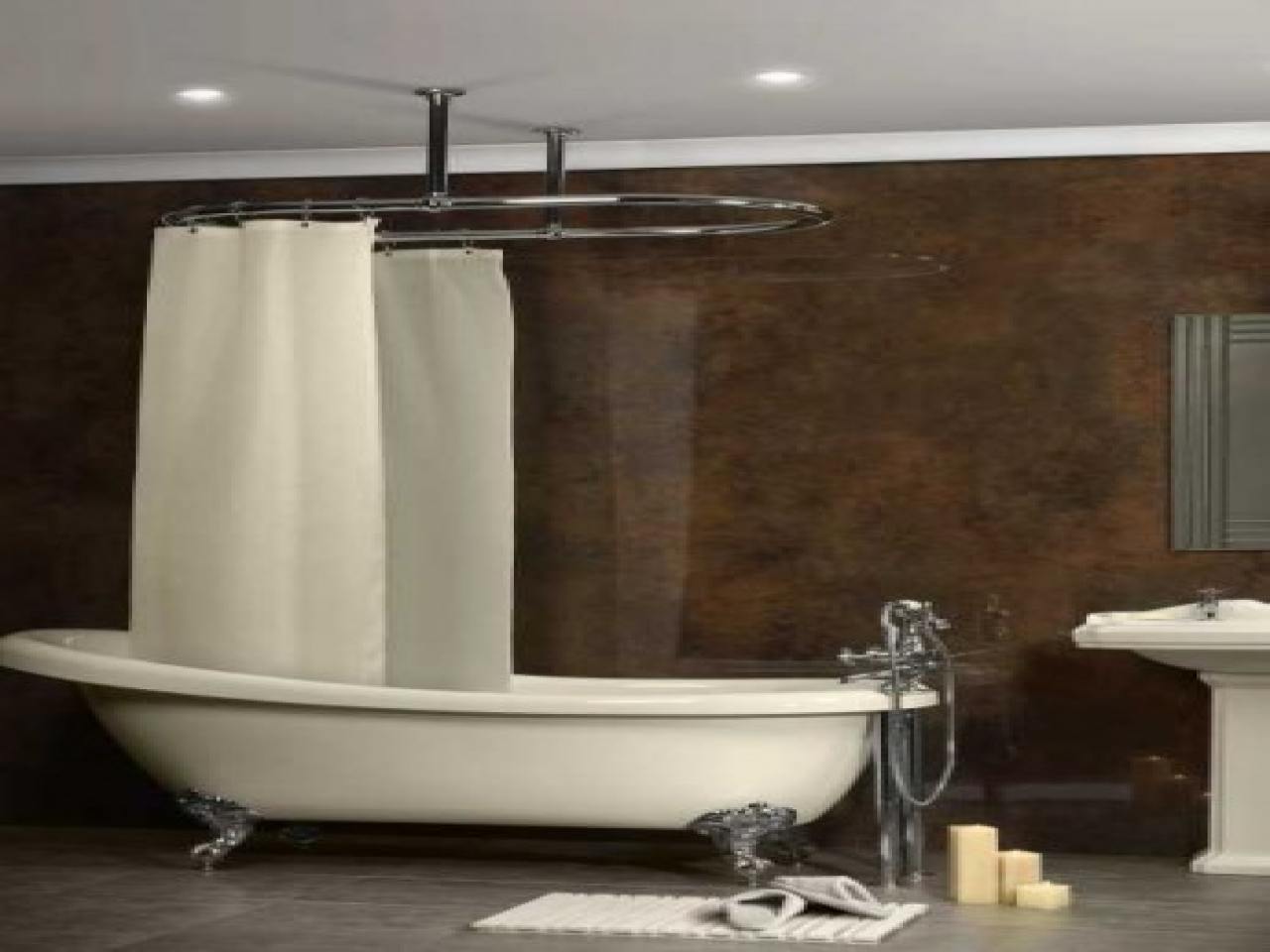 Image of: Oval Shower Curtain Rod Flexible