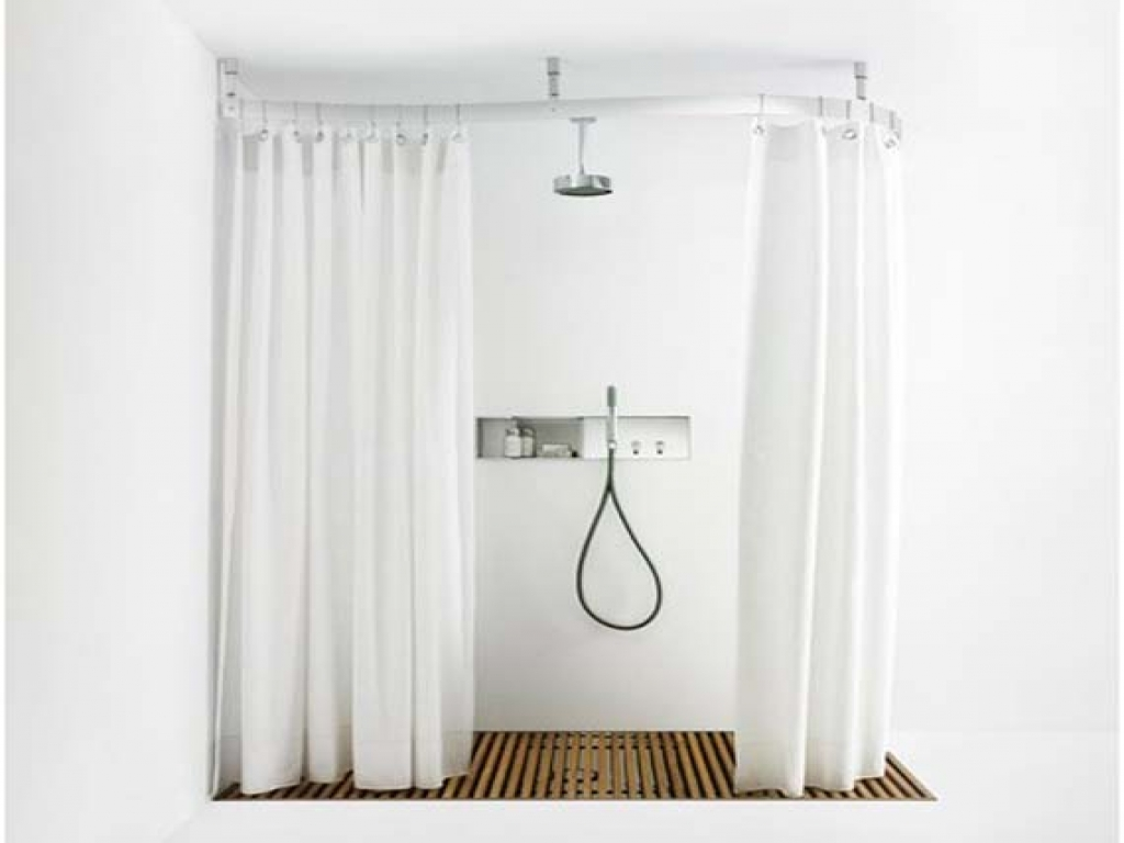 Image of: Oval Shower Curtain Rod Rail