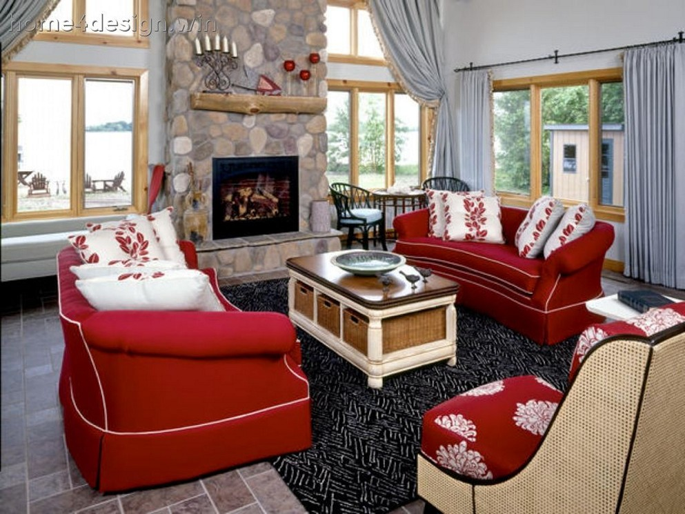 Image of: Red Living Room Ideas Couch