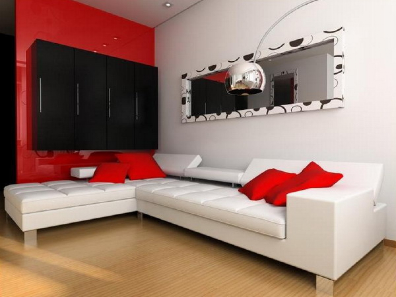 Image of: Red Living Room Ideas White